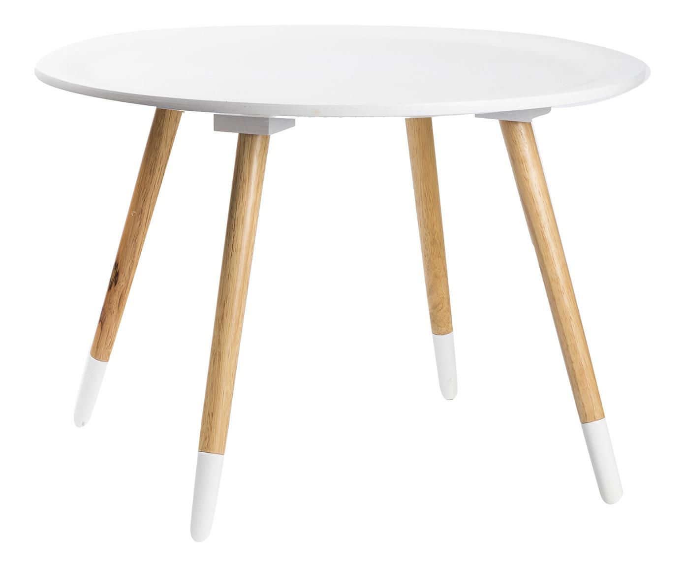J tavolino medio in mdf laccato bianco piedi in legno
